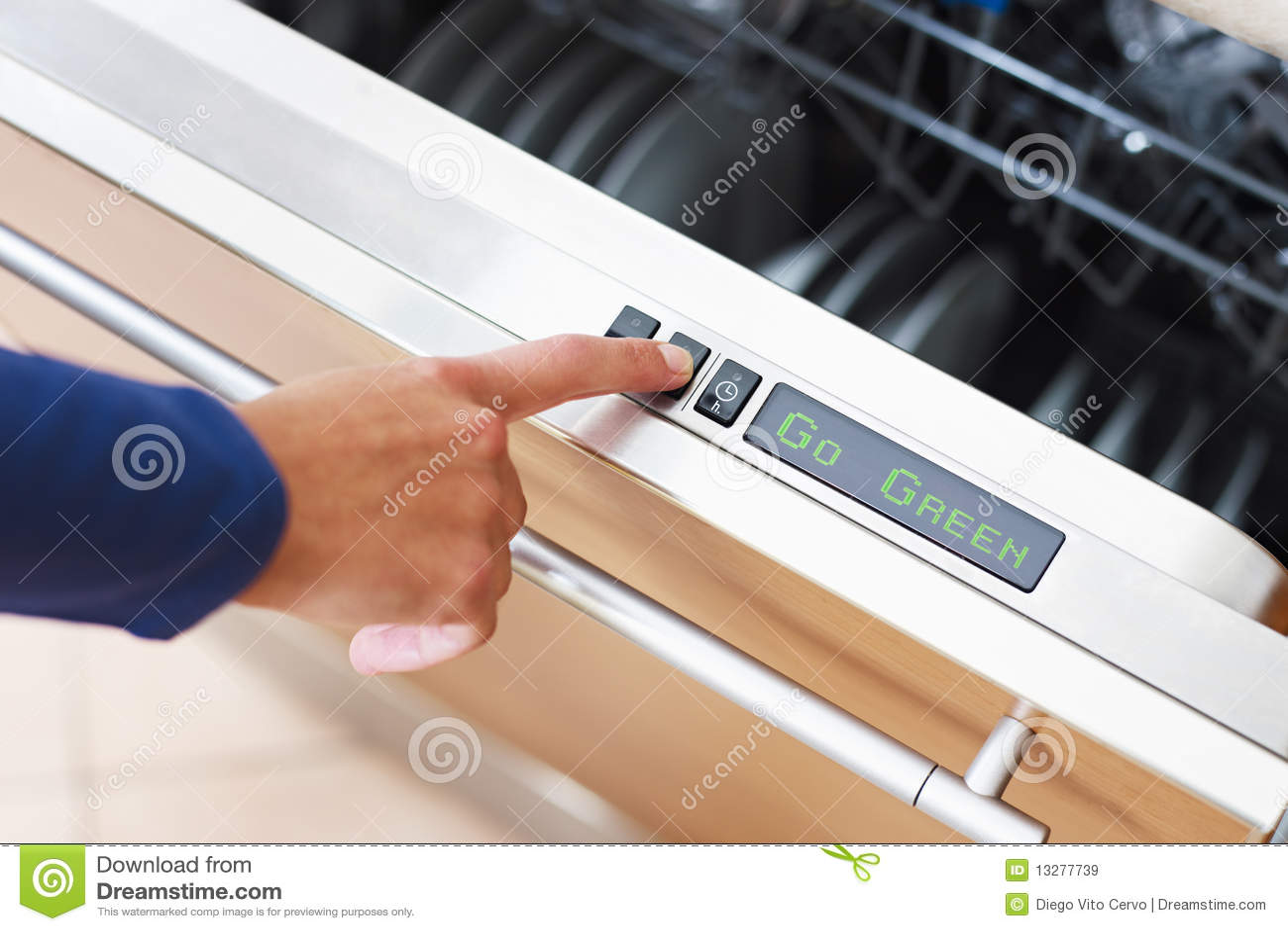Woman pressing energy saver button on dishwasher