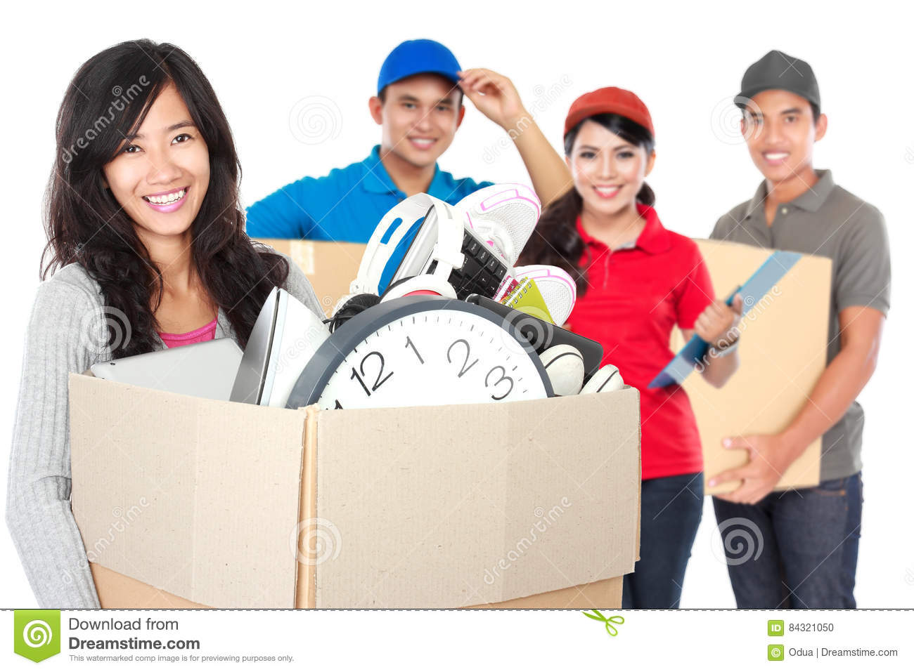 Woman and professional moving service