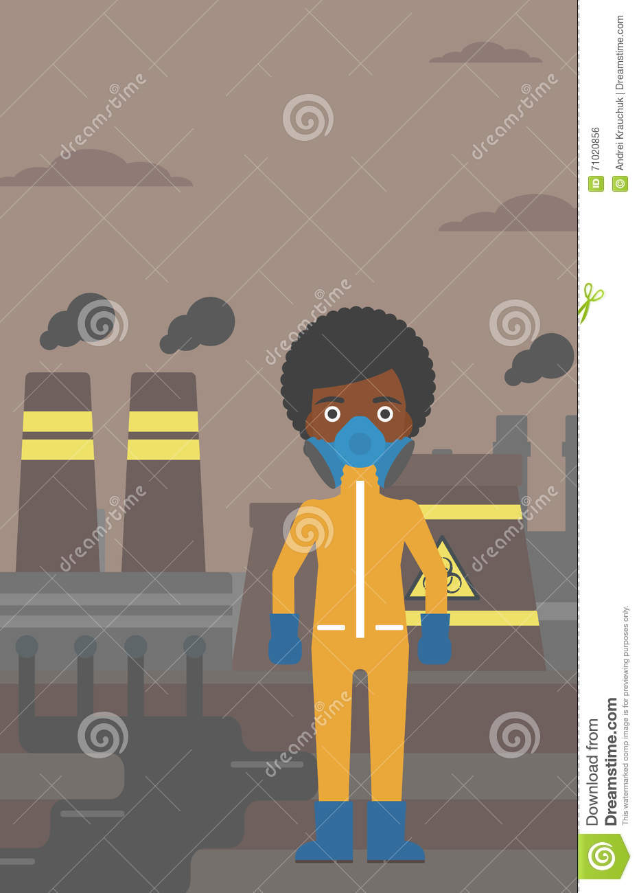 Woman In Protective Chemical Suit Stock Vector Illustration Of Nuclear Power Plant Diagram Animation An African American Wearing A For Toxic Atmosphere On Background Flat Design