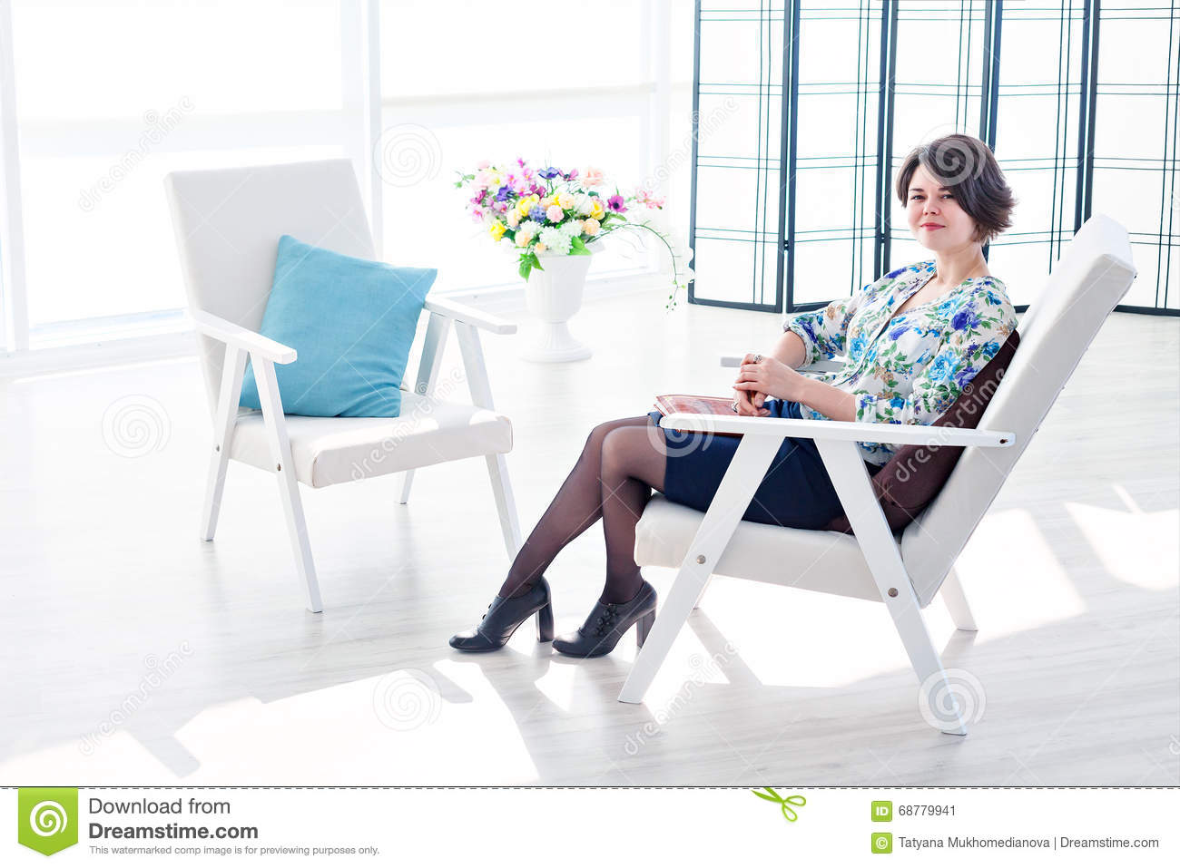 Woman Psychologist And A Free Seat For The Patient Stock
