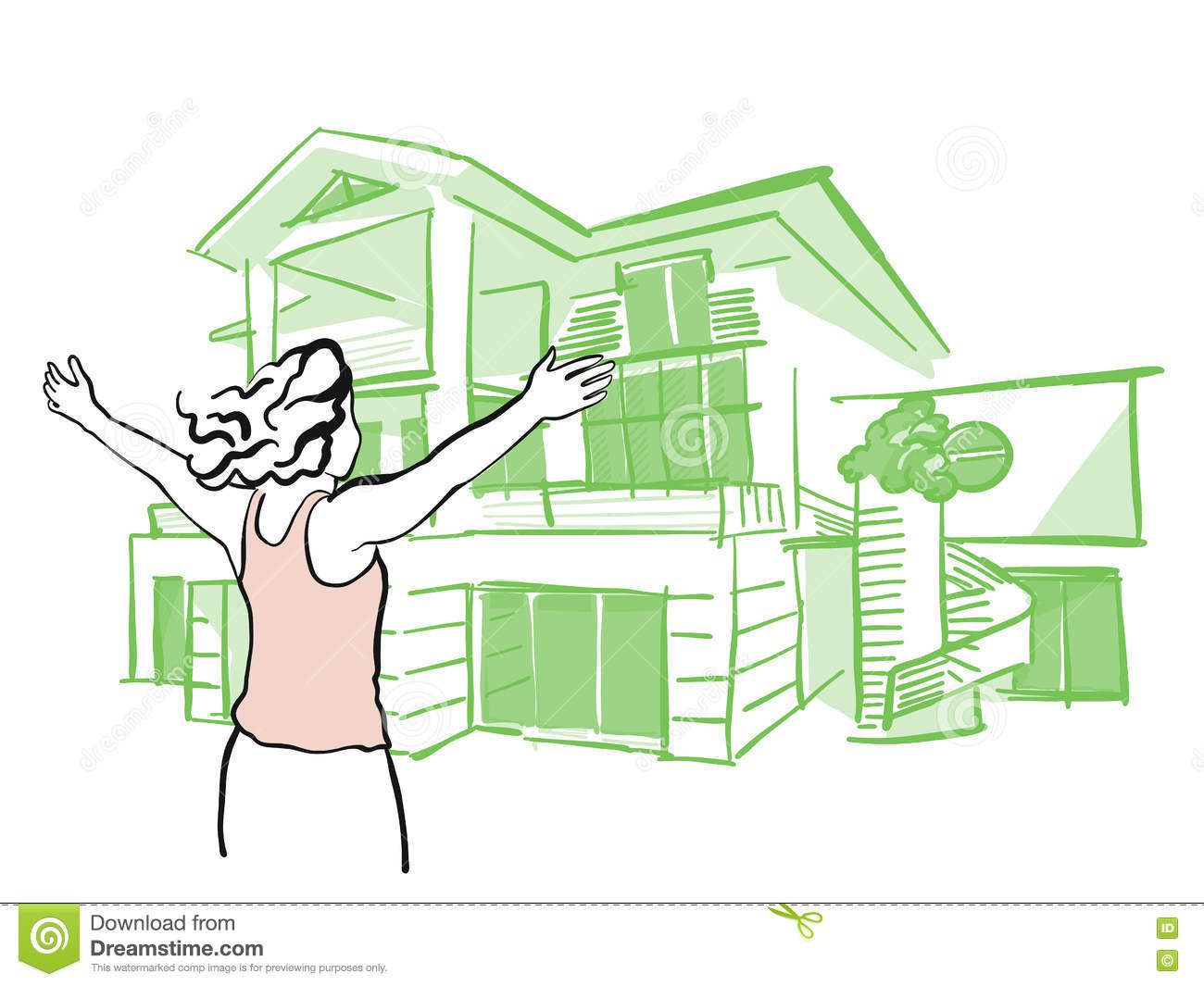 Woman is pulling arms upwards in front of dream house for Draw your dream house