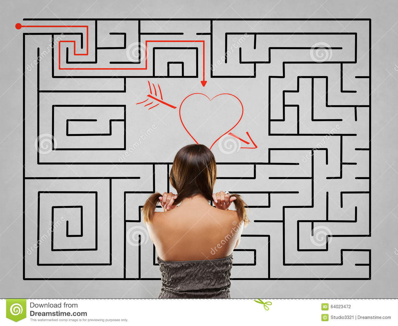 woman pulling hair in front of labyrinth with love solution royalty free stock image. Black Bedroom Furniture Sets. Home Design Ideas