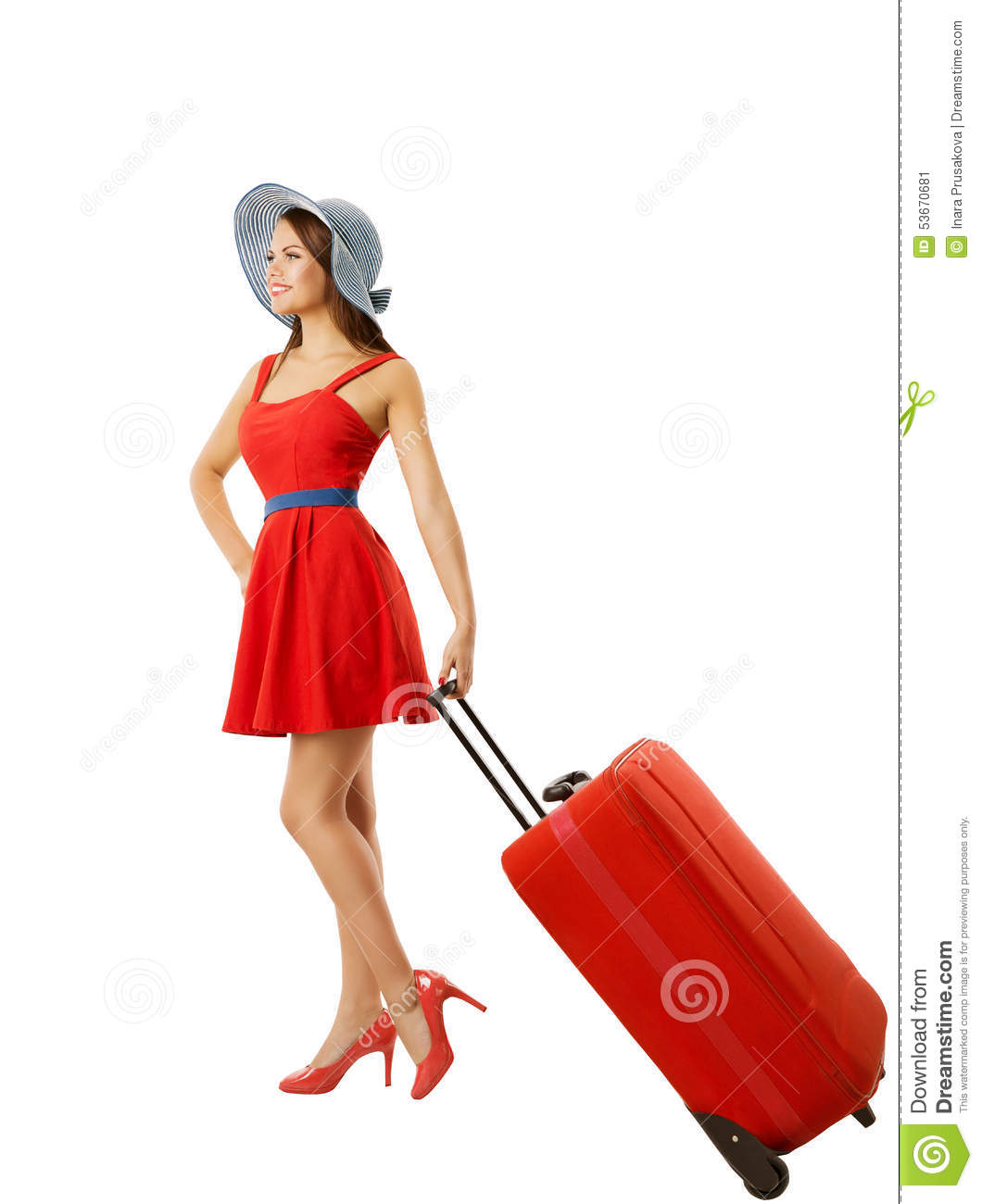 Woman Pulling Suitcase Baggage, Carry Luggage, White ...