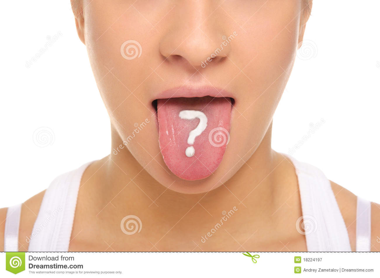 Woman puts out tongue with drawn question mark