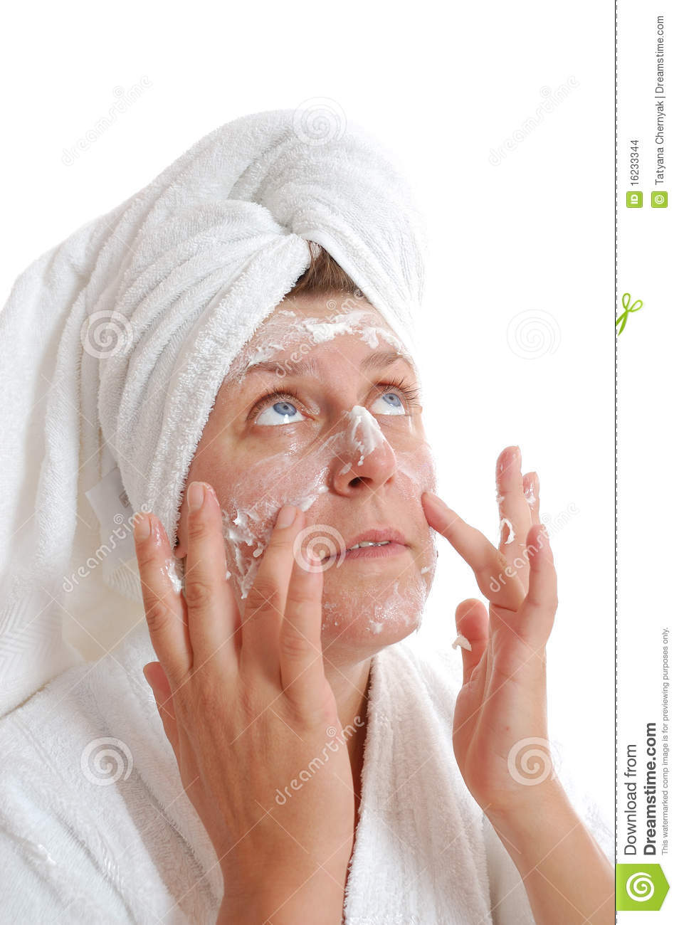 Woman Putting Cream On Her Face Stock Images Image 16233344