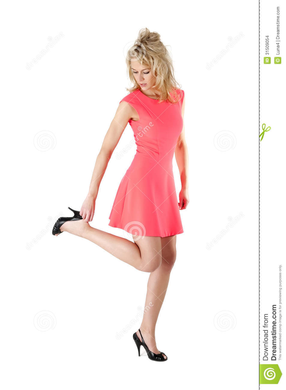 Woman Putting On High Heel Shoes Stock Images - Image ...
