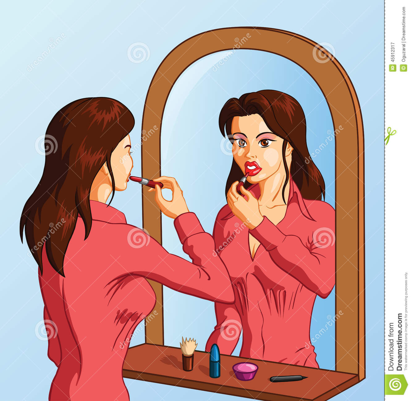 Girl Putting On Makeup Clipart Woman Putting On Lipst...