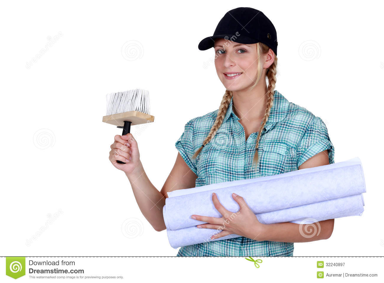 Woman Putting Up Wallpaper Royalty Free Stock Photography