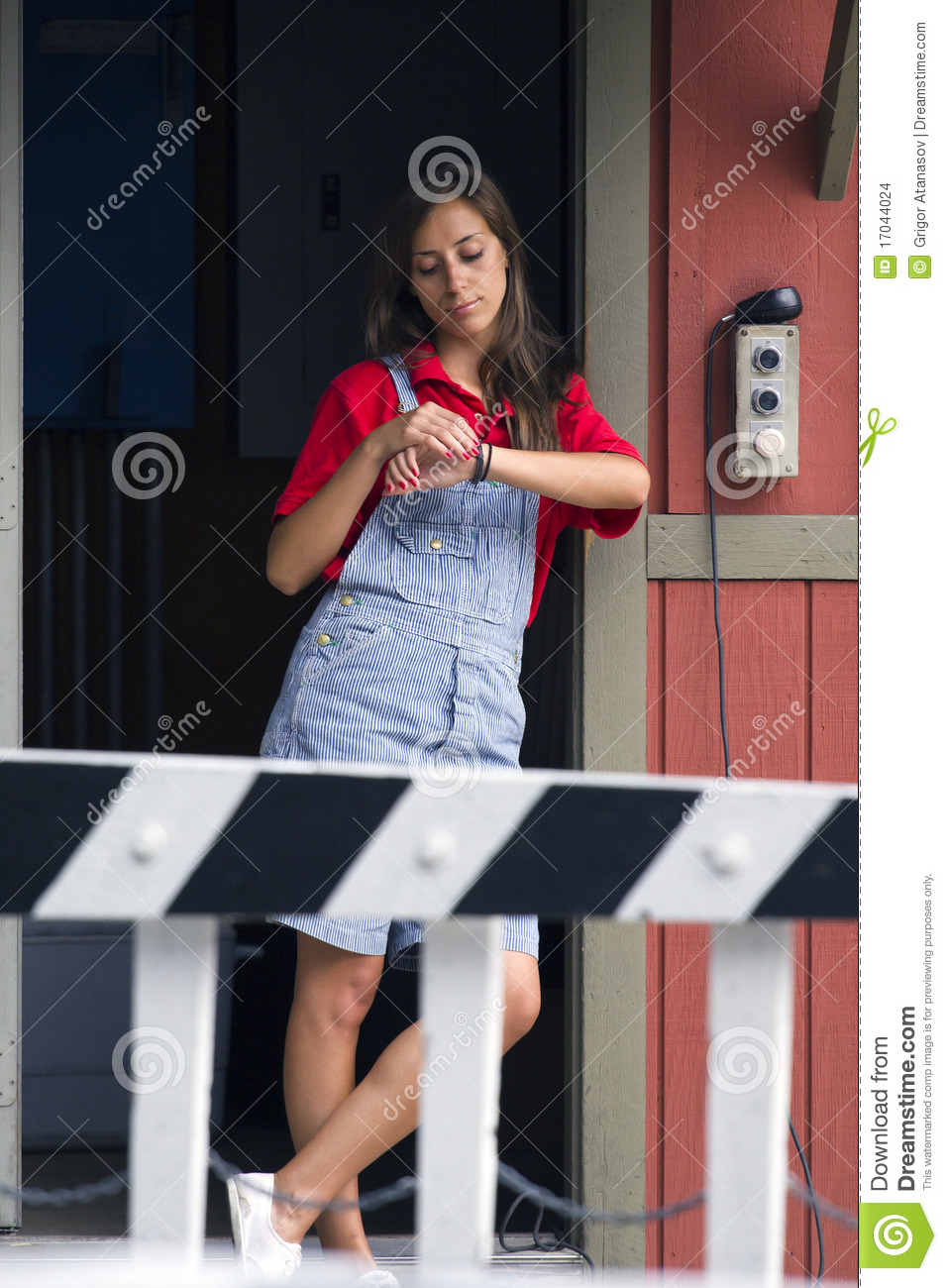 Woman and railroad crossing
