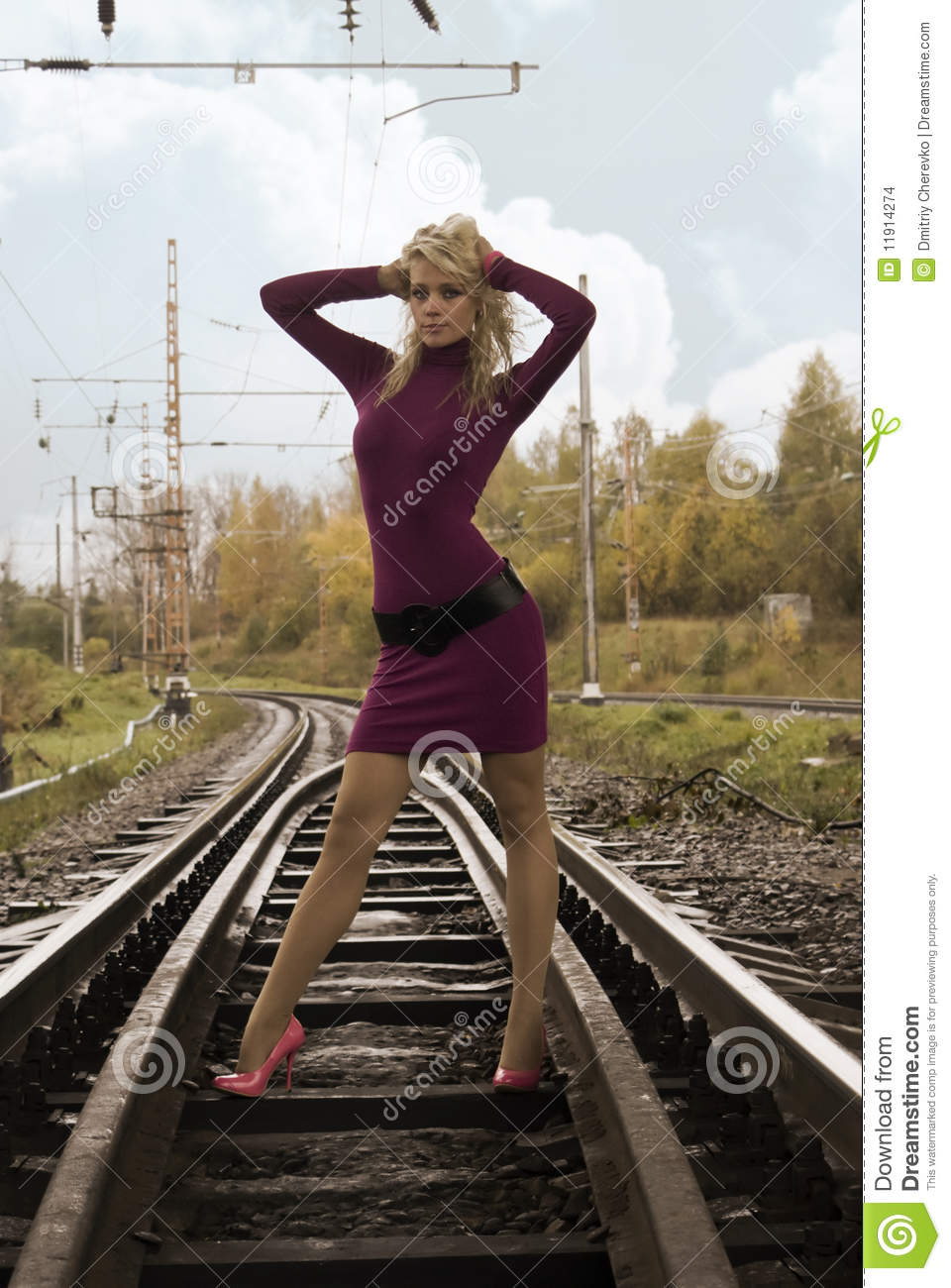 woman on railway tracks stock images   image 11914274
