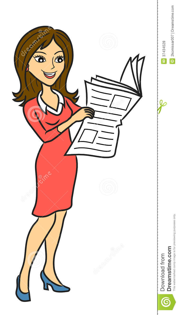 woman read newspaper stock vector. illustration of journalist - 37434528