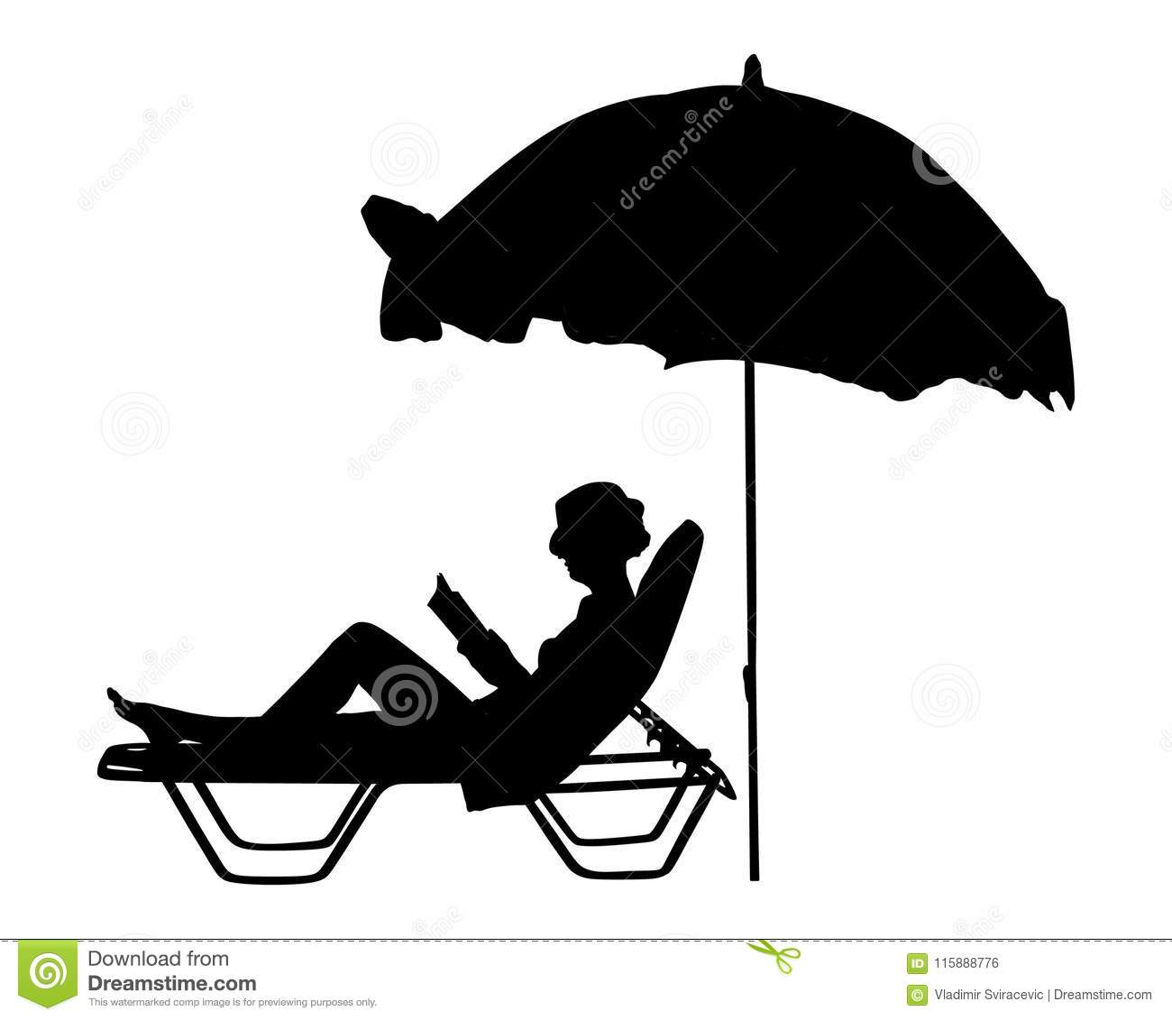 Woman Reading A Book On The Beach Silhouette. Stock ...