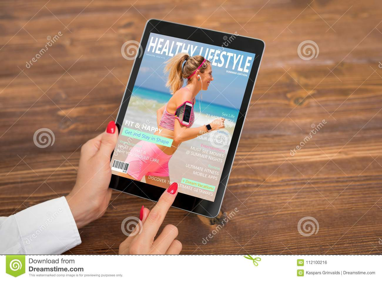 Woman Reading Healthy Lifestyle Magazine On Tablet Stock