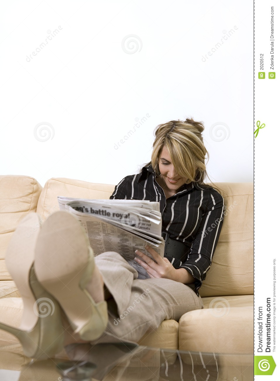 Woman Reading Newspaper Stock Photography - Image: 2020512