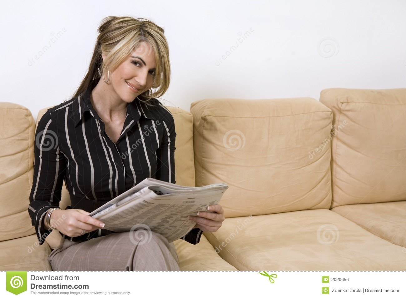 Woman Reading Newspaper Royalty Free Stock Image - Image ...