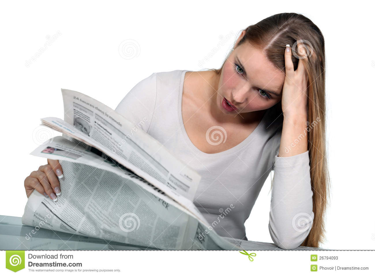 Woman Reading A Newspaper Stock Photos - Image: 26794093
