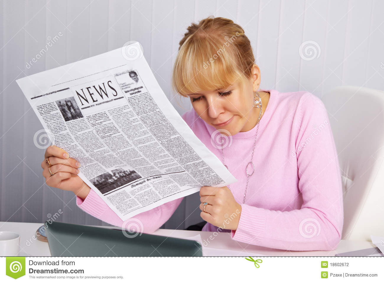 Woman Reading Newspaper - Bad News Stock Photography ...
