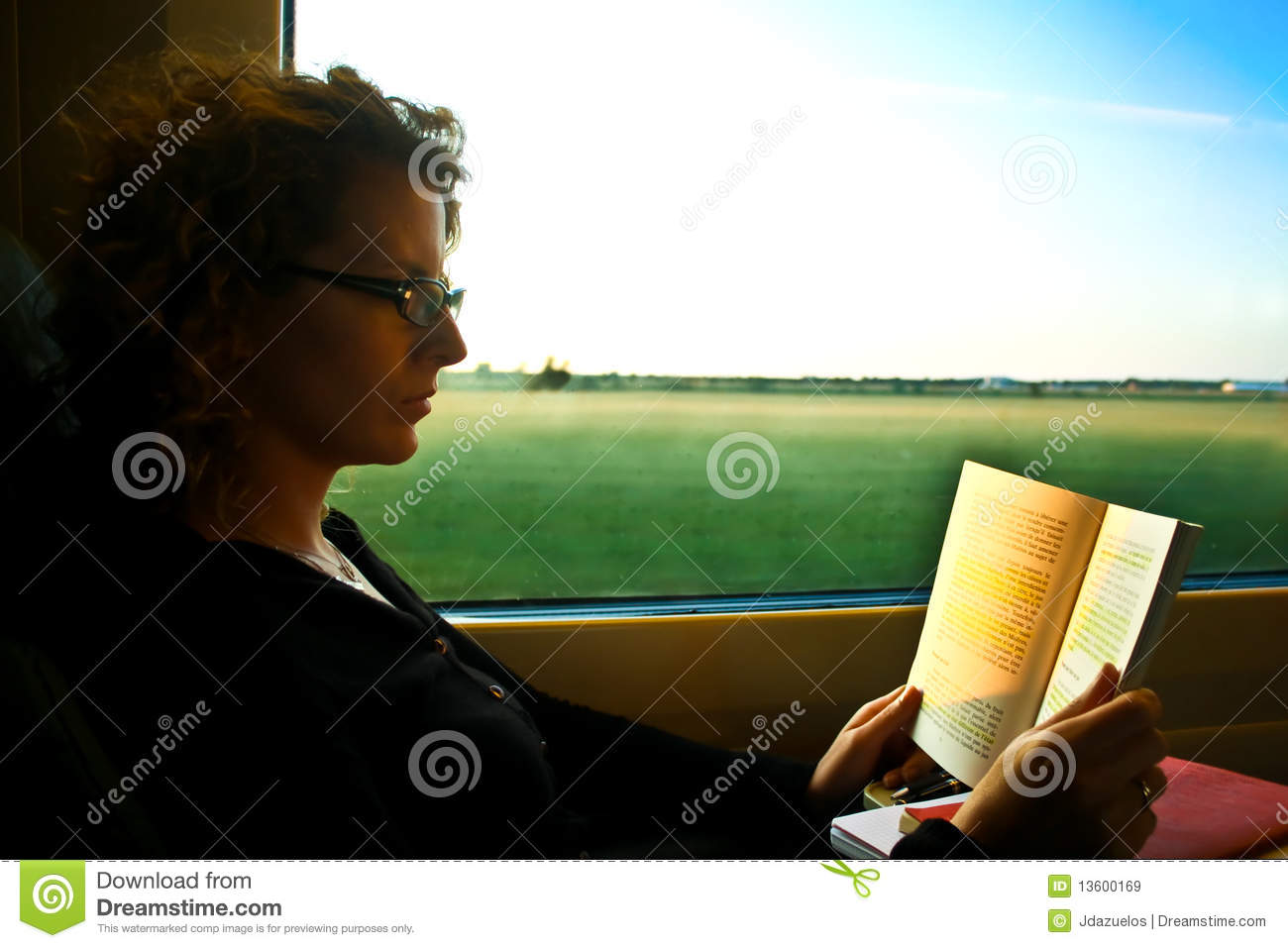 Woman reading in the train