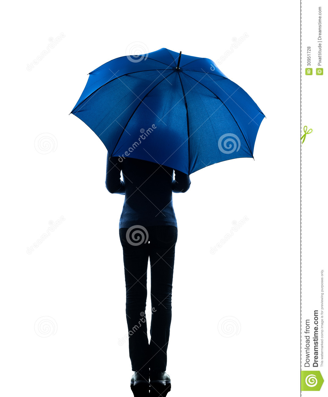 Woman Rear View Holding Umbrella Silhouette Stock Photo Image Of Studio Silhouette 30951728