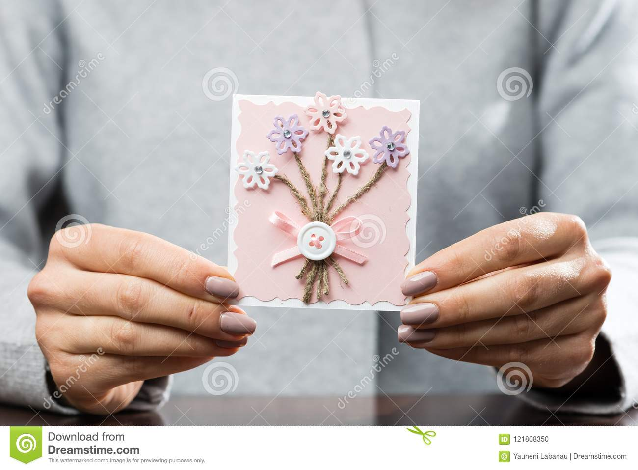 Woman Received Beautiful Postcard Symbol Of Holiday Affection