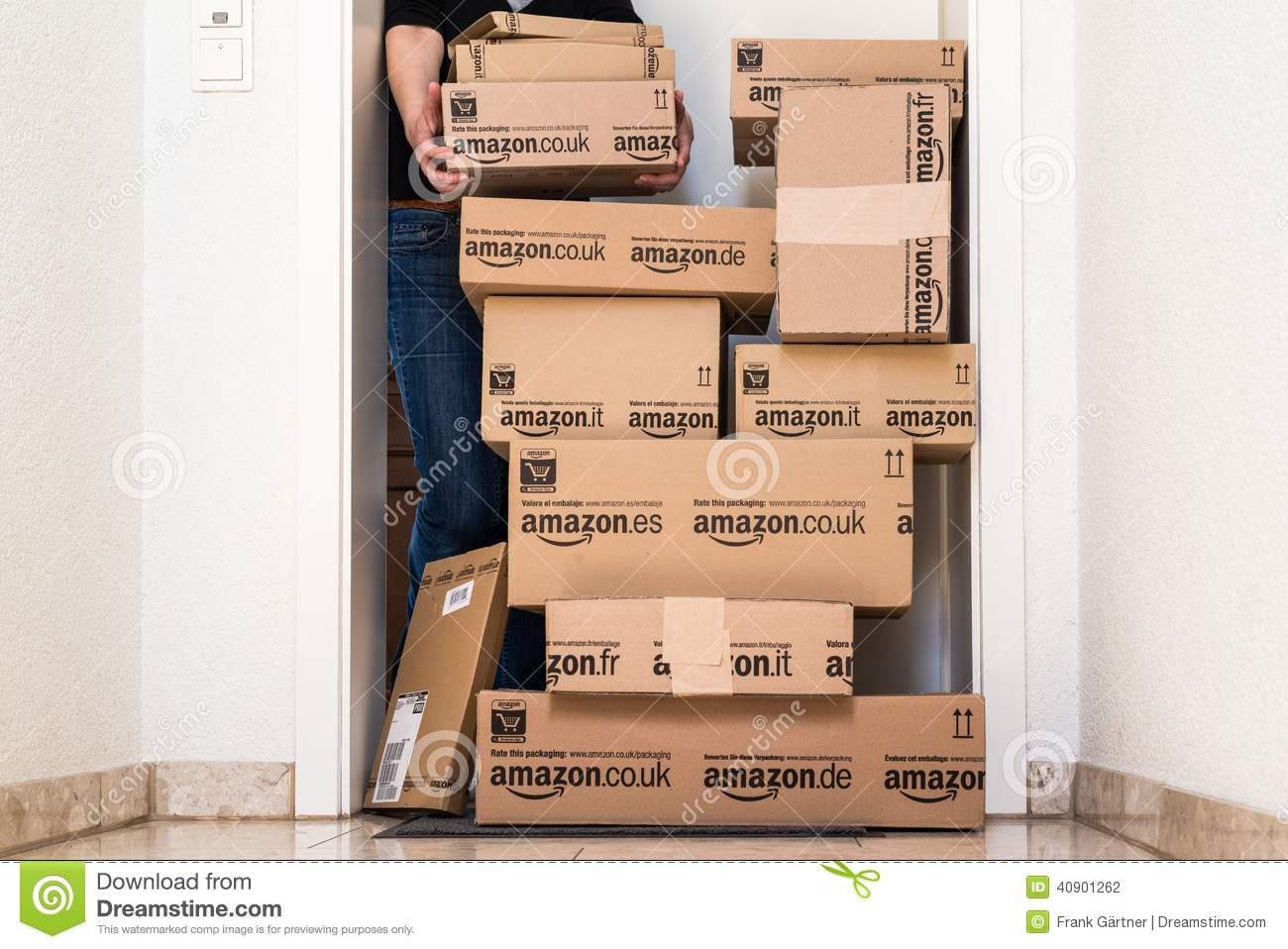 Woman Receiving Extensive Amazon Com Delivery Editorial