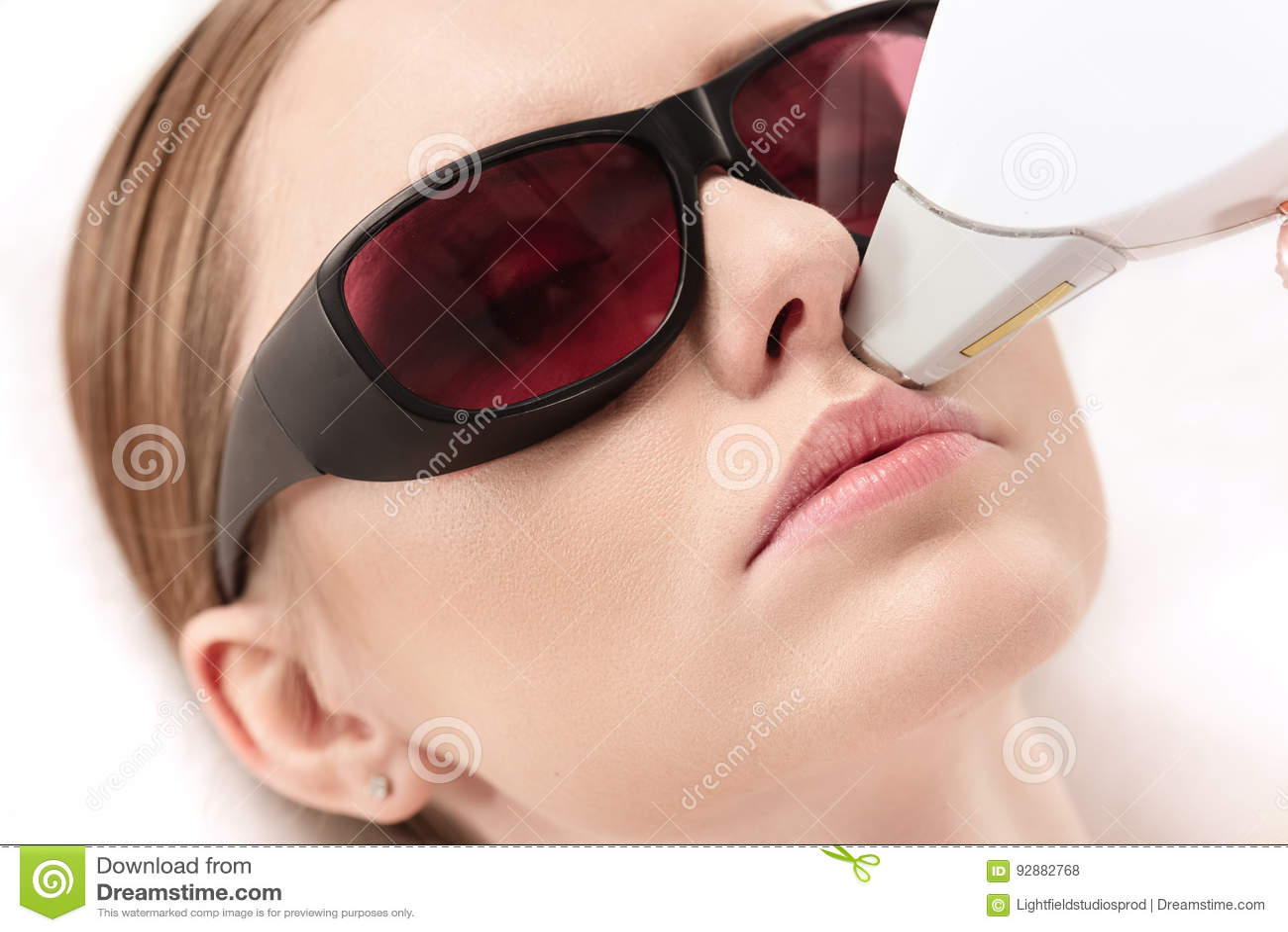 Woman Receiving Laser Hair Removal Epilation On Face Laser Skin - Laser hair removal face