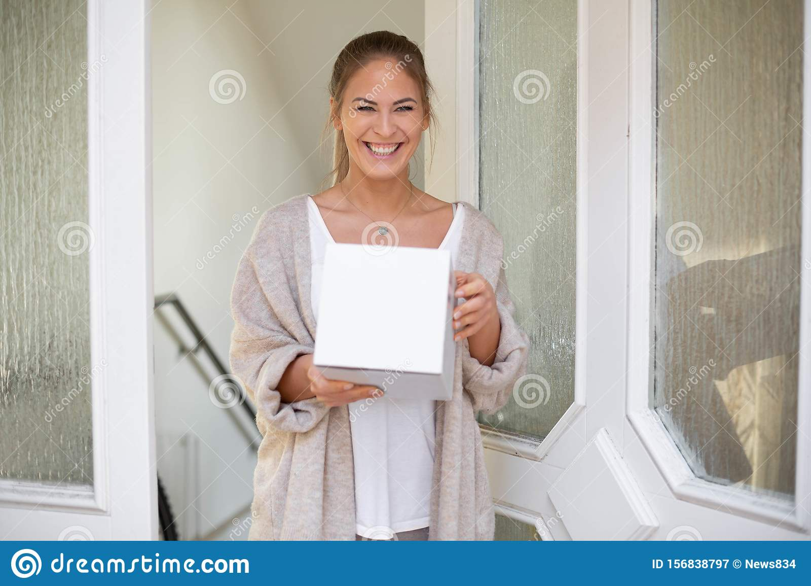 Woman receiving package box