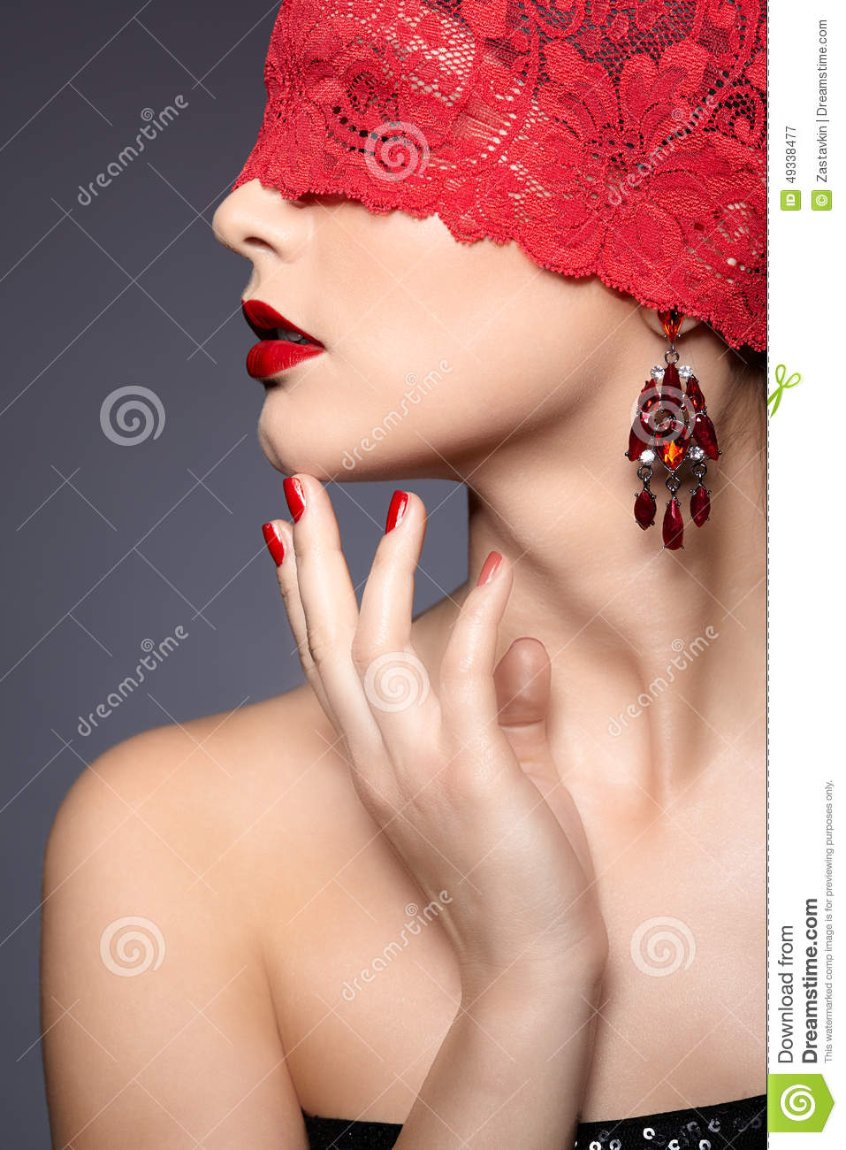 Woman with red bandage