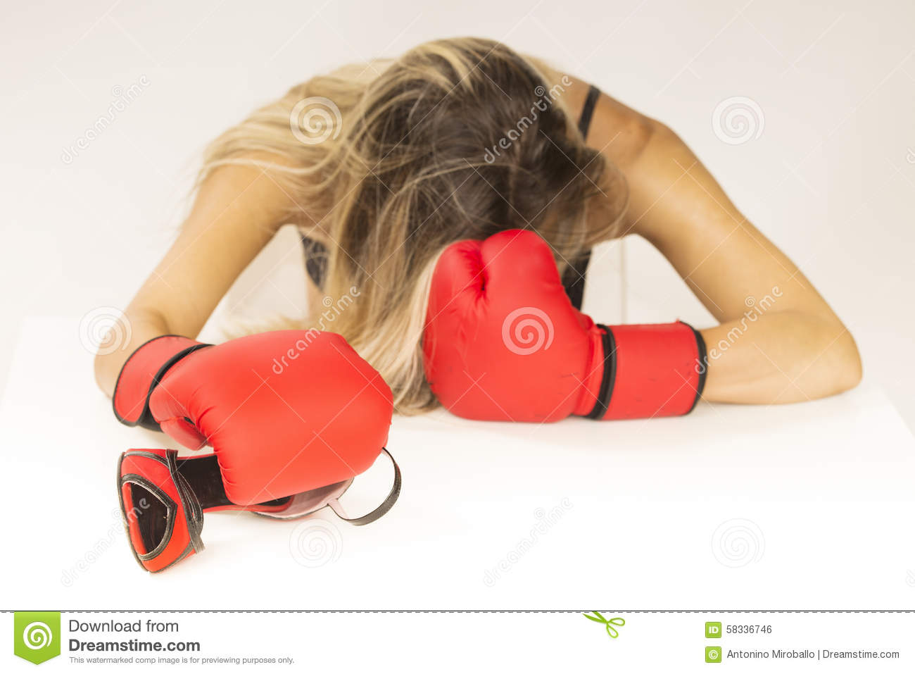 Woman With Red Boxing Gloves Stock Photo