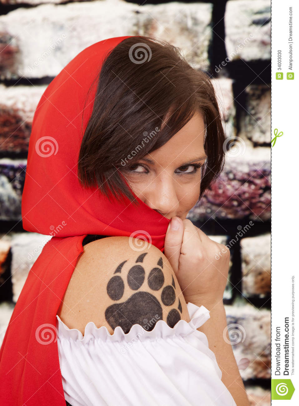Woman red cape tattoo claw hide face