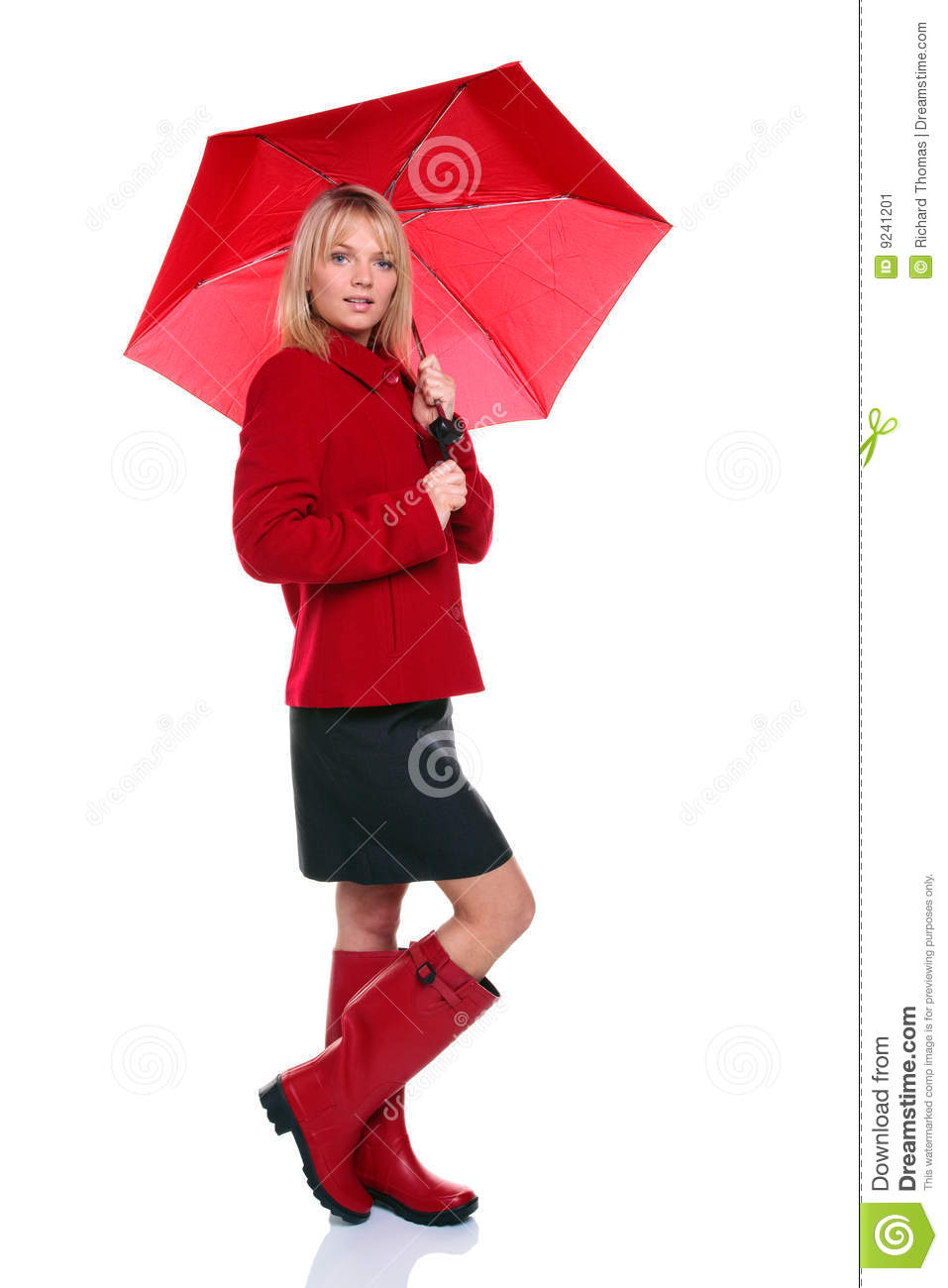 Woman In Red Coat, Boots And Umbrella Stock Image - Image: 9241201