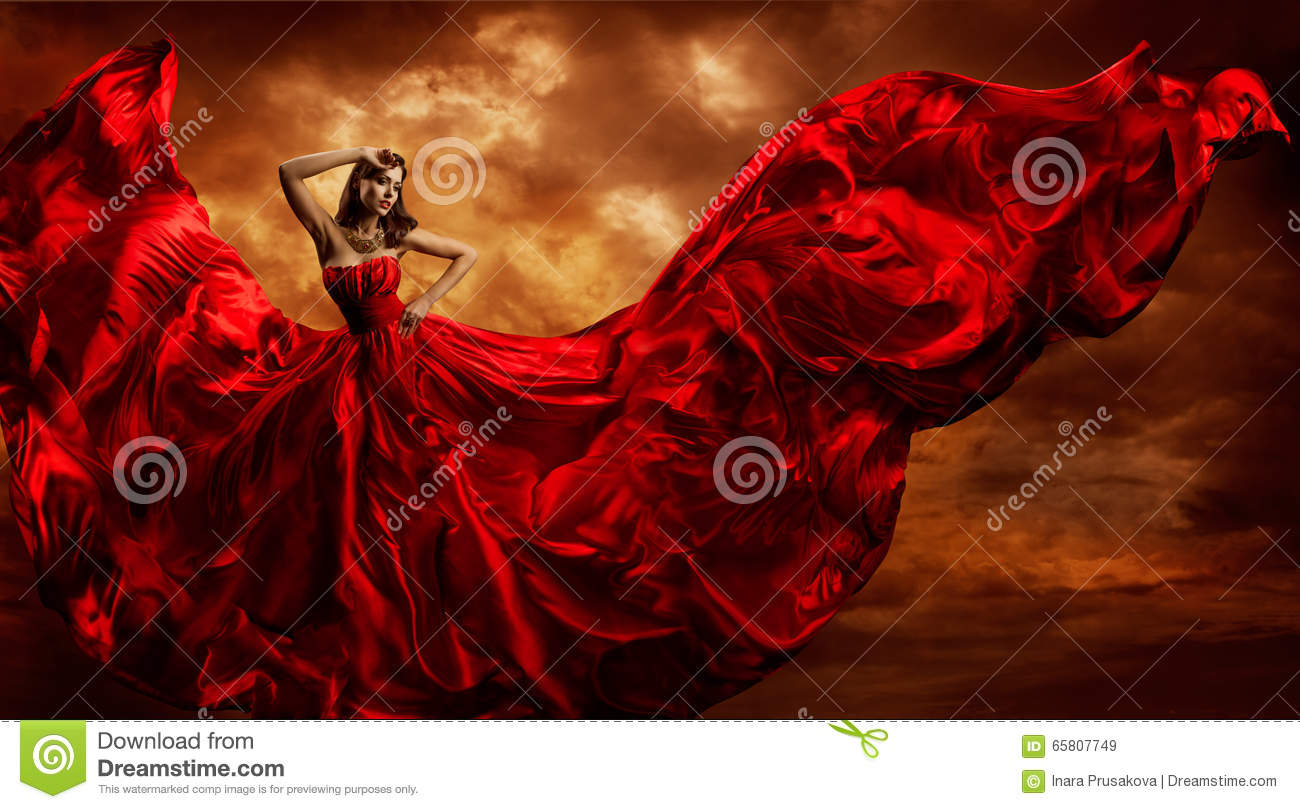 Red Dress Woman In Flying Fashion