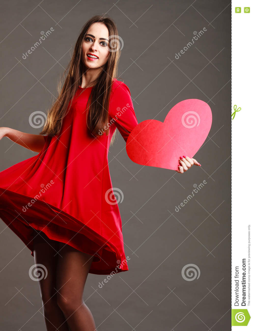 Woman In Red Dress Holds Heart Sign Stock Image Image Of Dance