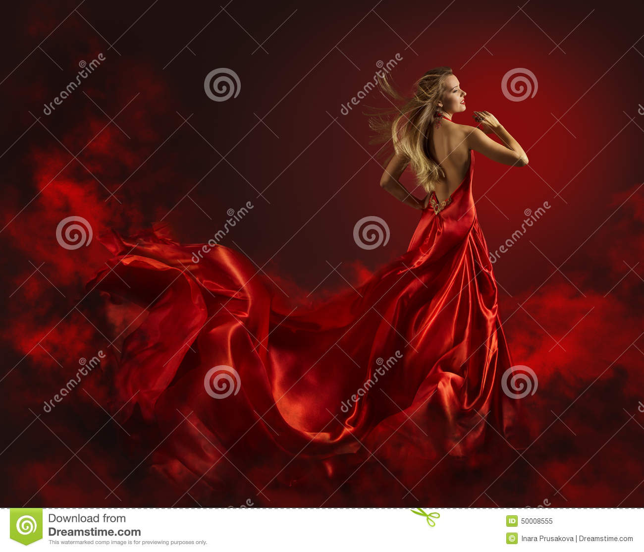 Woman in Red Dress, Lady Fantasy Gown Flying and Waving