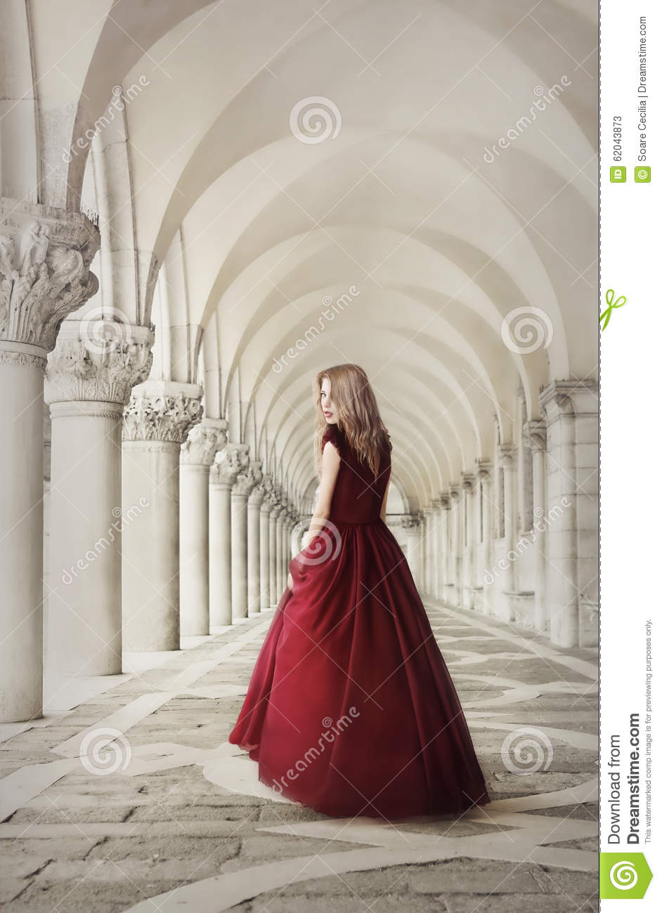 Woman In Red Dress Near San Marco Square Venice Stock Image - Image ...