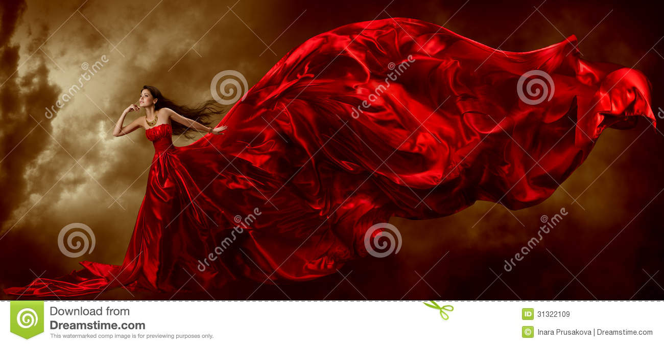Woman Red Dress, Fashion Model Waving Flying Fabric, Lady Gown Cloth