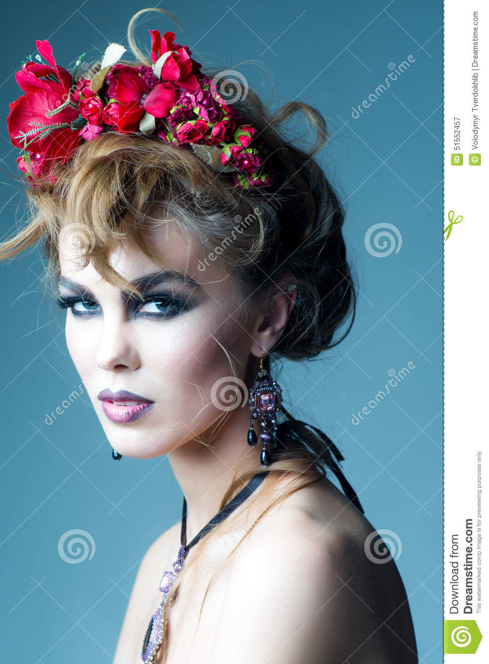 Woman With Red Flowers In Hair Stock Image Image Of Seductive
