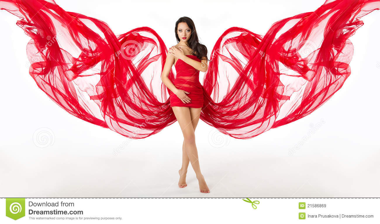 Woman In Red Flying Waving Dress As Wings Stock Image ...