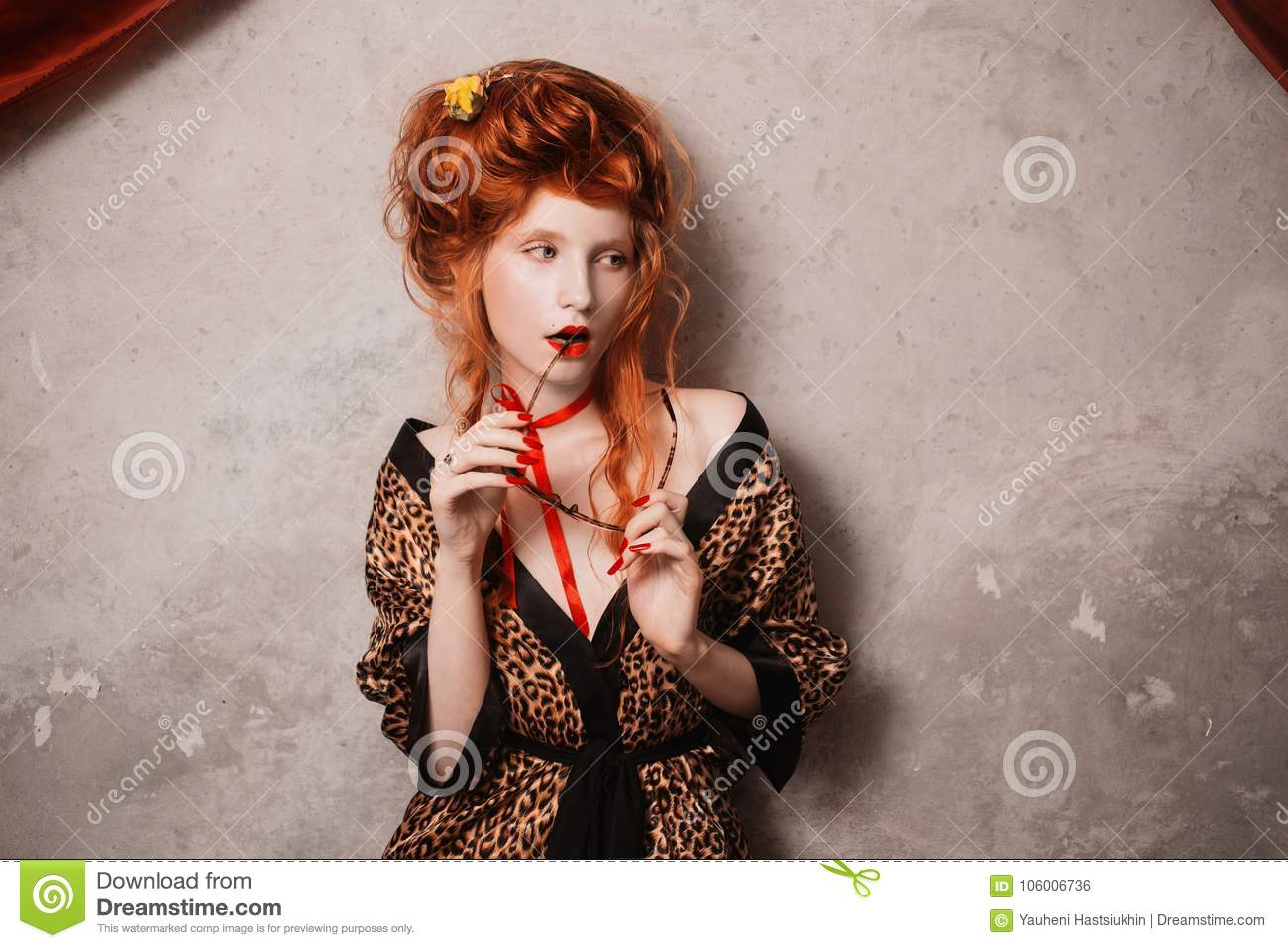 Beautiful Girl With Red Hair Stock Photo Image Of