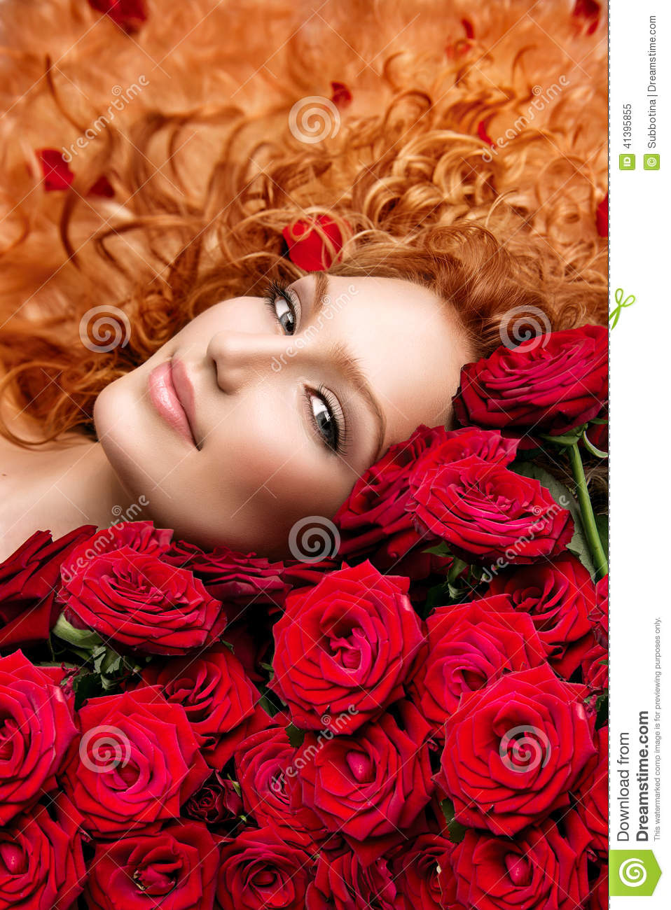 Woman With Red Hair And Roses Stock Photo Image 41395855