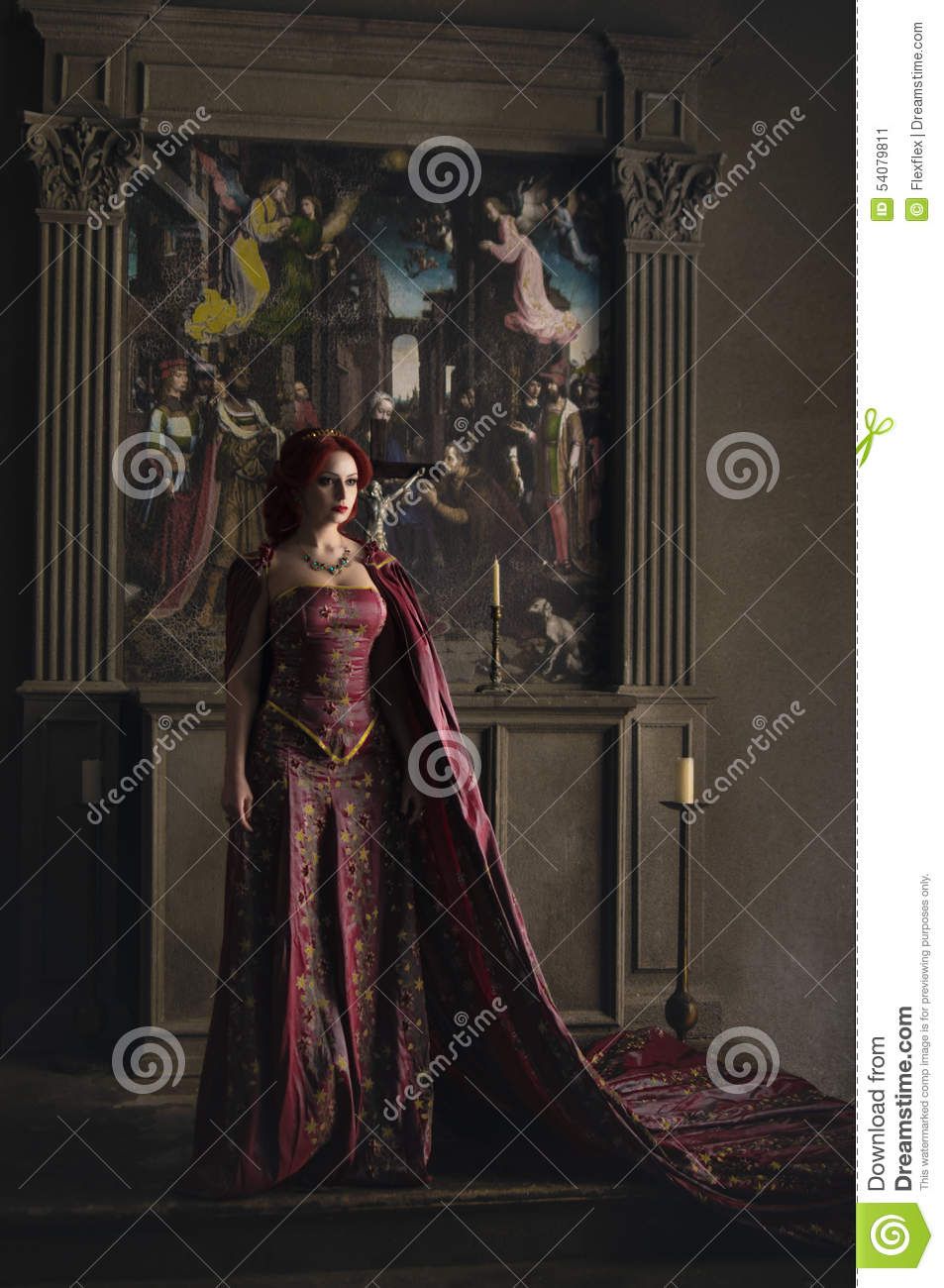 Woman with red hair wearing elegant royal garb