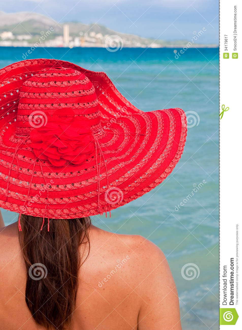 Woman With Red Hat Looking At The Sea Royalty Free Stock ... - photo#24
