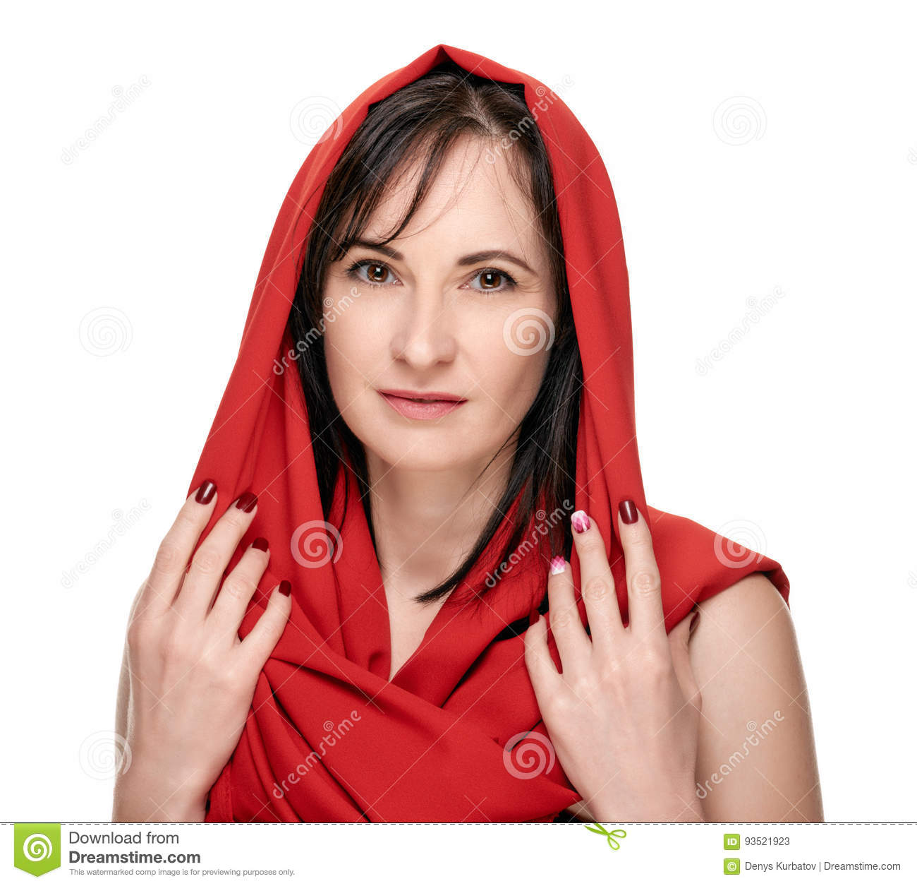 ec79ca2a8ff4a Woman in red headscarf stock image. Image of cosmetic - 93521923