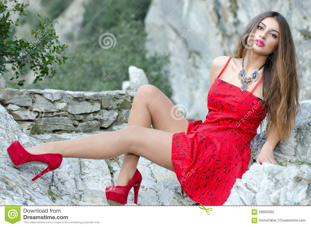 Woman In Red High Heels And Red Short Dress Stock Photo - Image ...