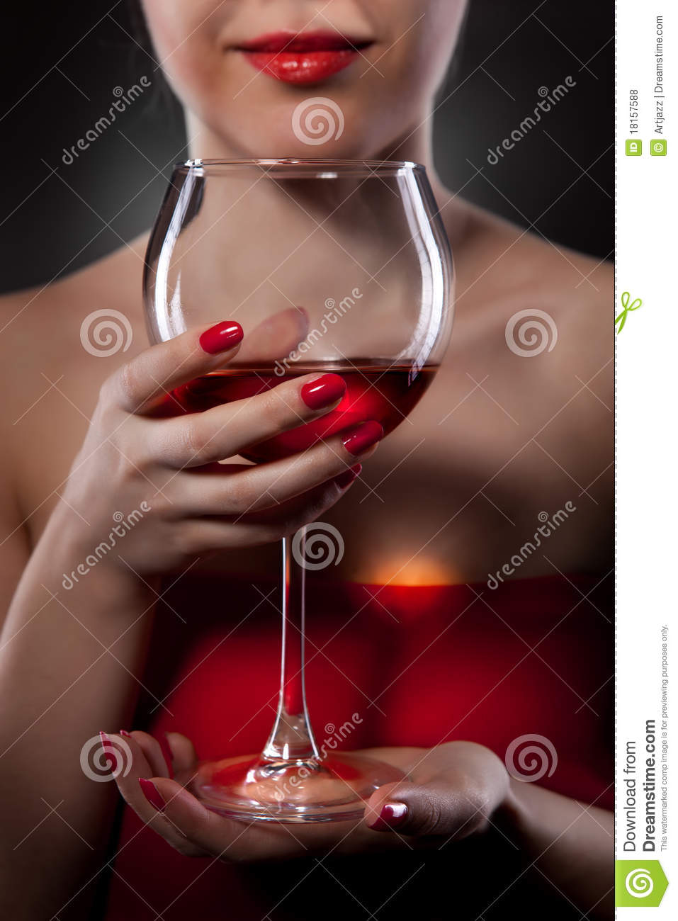 Woman In Red Holding Wine Glass Stock Photo - Image: 18157588
