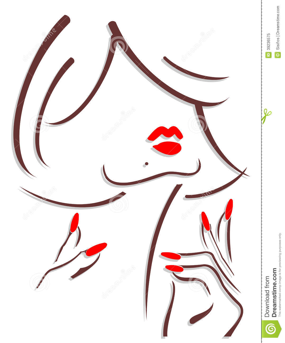 Woman With Red Lips And Red Nails Stock Illustration Image 39236575