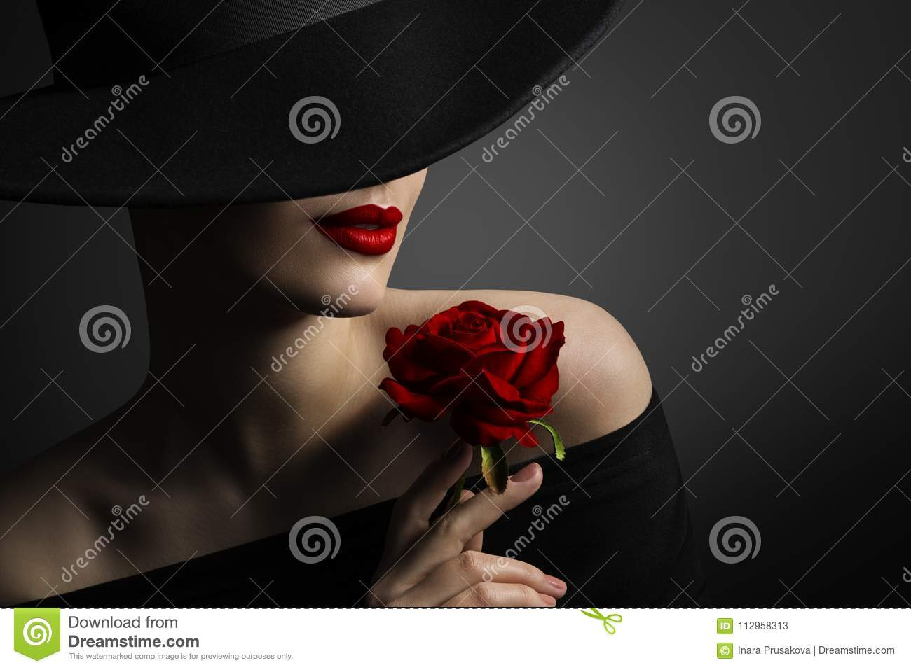 Woman Red Lips and Rose Flower, Fashion Model Beauty Portrait