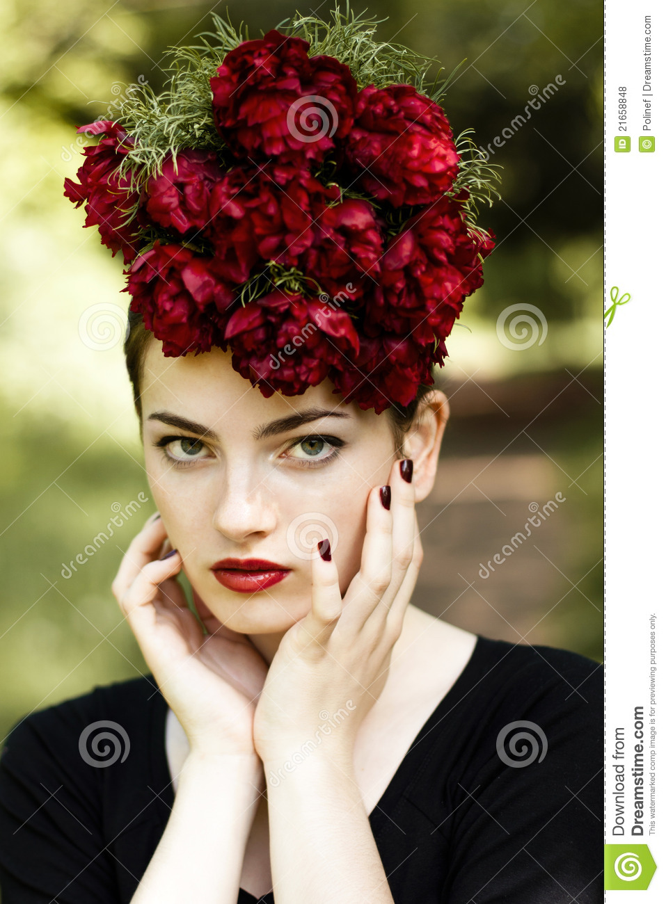 Woman With Red Lipstick And Flowers On The Head Stock