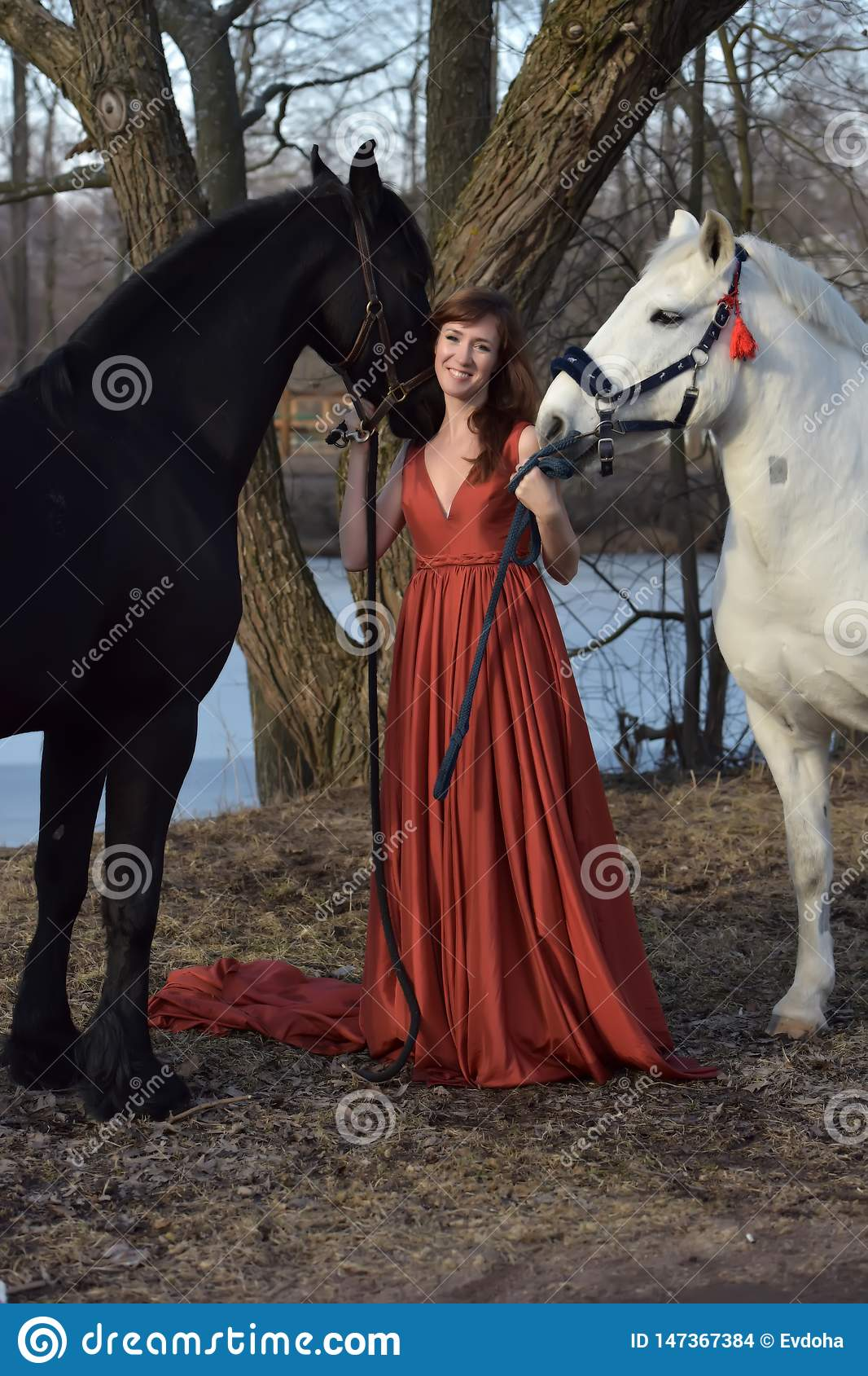 Woman in a red long dress with two horses