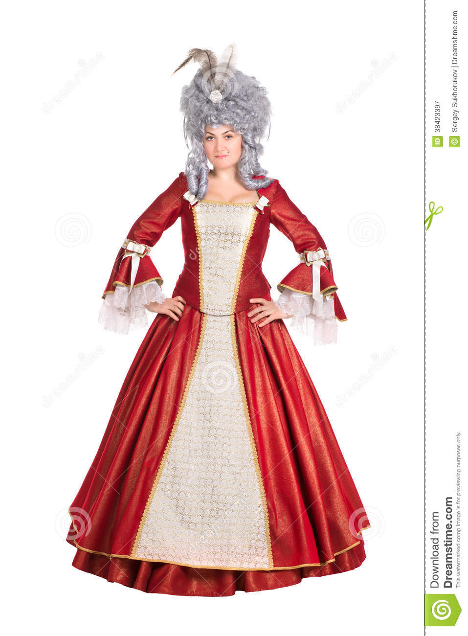 Woman In Red Queen Dress Royalty Free Stock Photography - Image ...